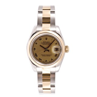 Pre-owned Rolex Women's Datejust Two-tone Champagne Dial Automatic Watch