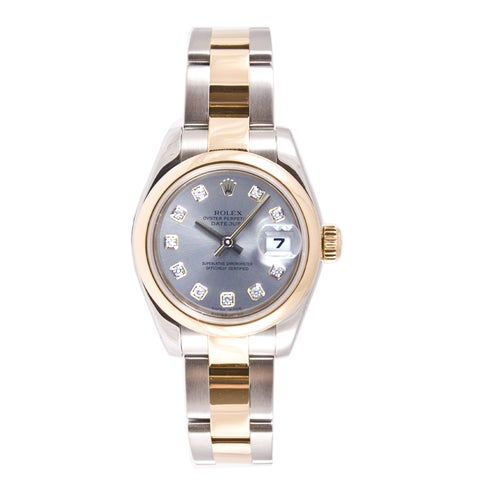 Pre-owned Rolex Women's Datejust Two-tone Oyster Band Silver Diamond Dial Watch