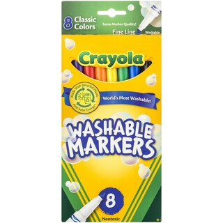 Crayola Classic Colors Fine Tip Washable Markers (Pack of 8)