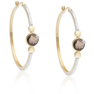 Dolce Giavonna Gold Over Sterling Silver Smokey Quartz Hoop Earrings