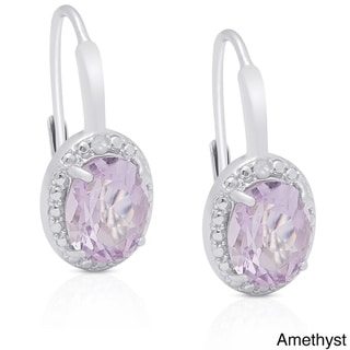 Link to Dolce Giavonna Sterling Silver Gemstone Diamond Accent Circle Leverback Earrings Similar Items in Earrings