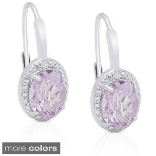 Dolce Giavonna Sterling Silver Gemstone Diamond Accent Circle Leverback Earrings