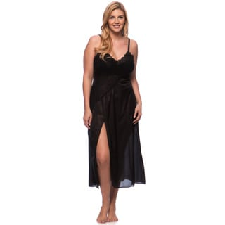 'Romance Selections' Black Long Gown with Side-slit/ Lace Trim
