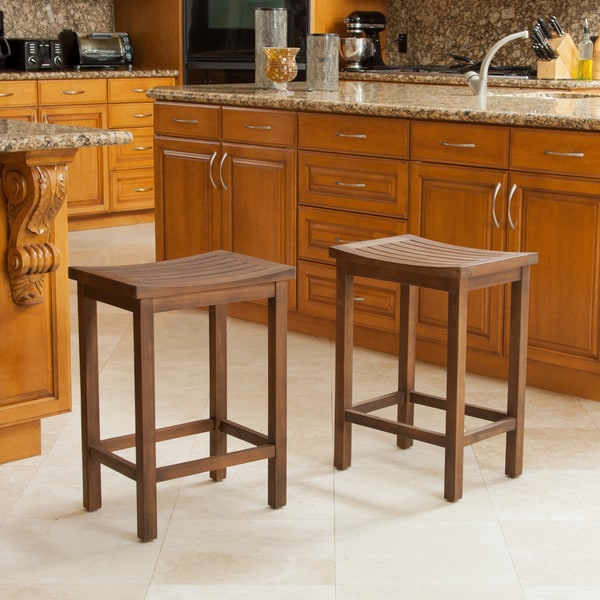 Easton 24-inch Slat Counter Stool (Set of 2) by Christopher Knight Home. Opens flyout.