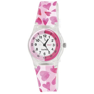 Lily Nily Kids' Plastic and Stainless Steel Pink Hearts Watch