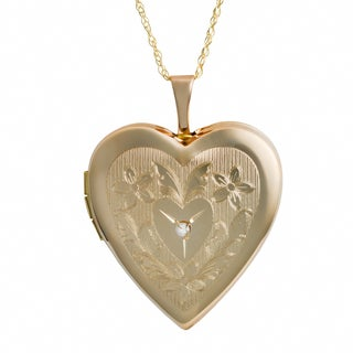 Fremada 10k Yellow Gold Diamond Accent Floral Design Heart Locket Necklace (18 inch)