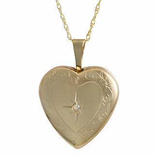 Fremada 10k Yellow Gold Diamond Accent Heart Locket Necklace (18-inch)