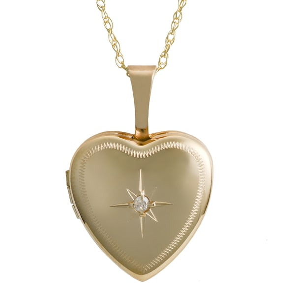 Fremada 10k Yellow Gold Small Heart Locket Diamond Accent Necklace (18-inch)