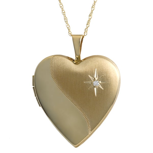 Fremada 10k Yellow Gold Diamond Accent Satin Finish Heart Locket Necklace (18-inch)