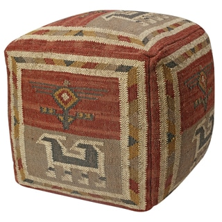 24-inch Red Tribal Jute/ Wool Pouf Ottoman