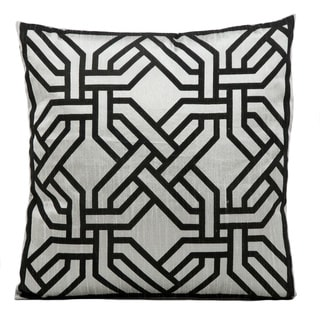 kathy ireland Modern Chain Silver/Black Throw Pillow (18-inch x 18-inch) by Nourison