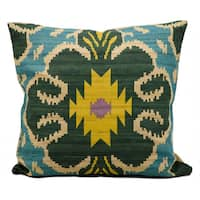 kathy ireland Clover Ikat Turquoise Throw Pillow (18-inch x 18-inch) by Nourison