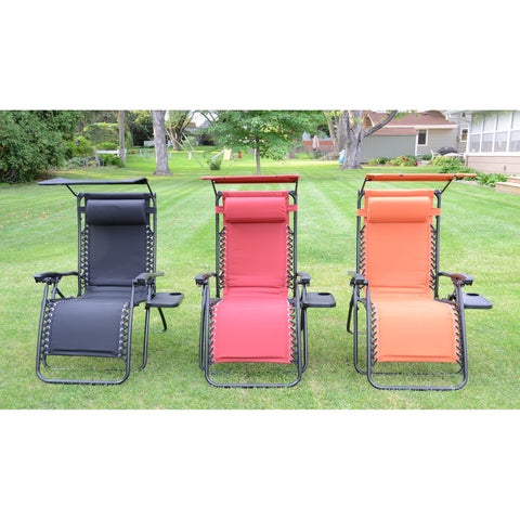 Styled Shopping Deluxe Padded Zero Gravity Chair with Canopy and Tray