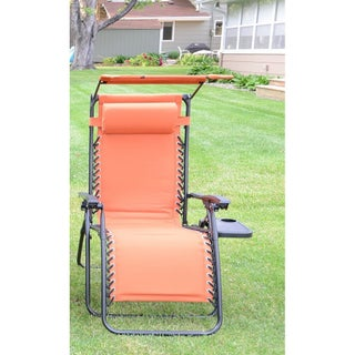 Styled Shopping Deluxe Padded Zero Gravity Chair with Canopy and Tray (Option: Tangerine)