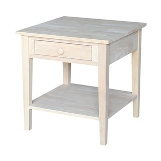Spencer Square Unfinished Solid Parawood End Table