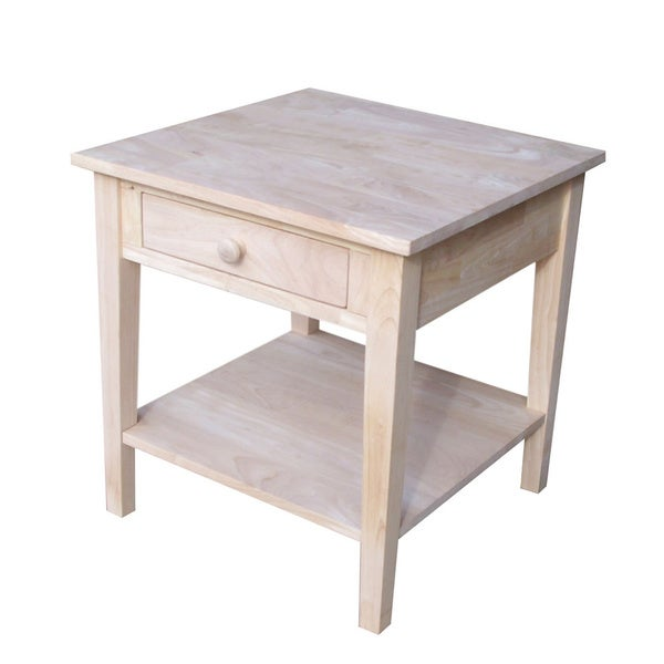 Spencer Square Unfinished Solid Parawood End Table Free