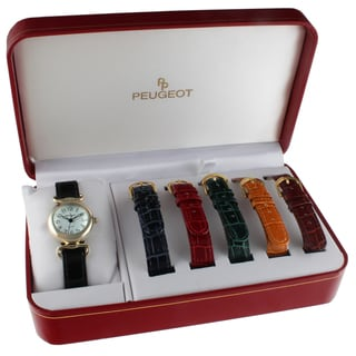 Peugeot Women's 676 Goldtone Watch and 6 Interchangeable Leather Straps Gift Set
