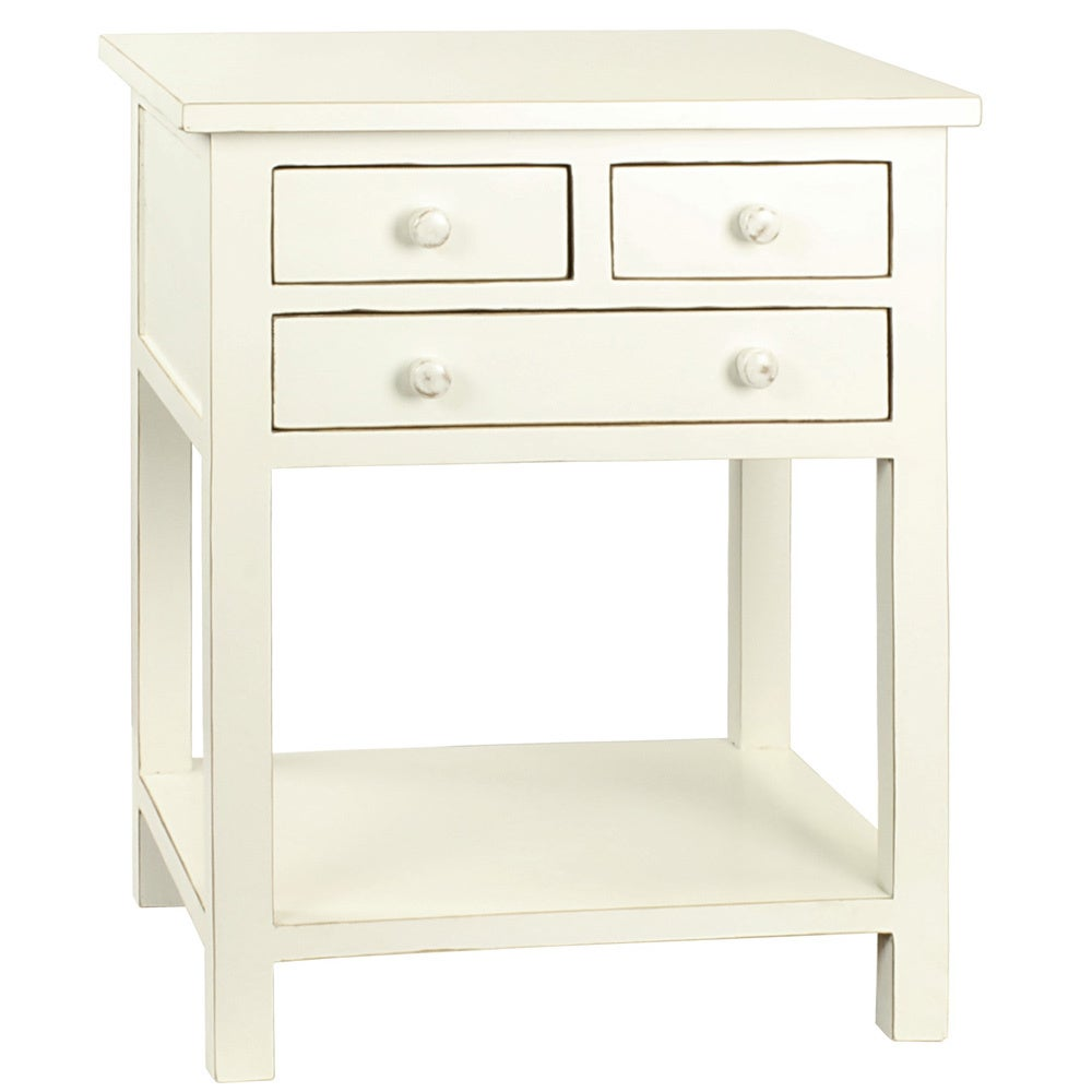 Porthos Home Celeste Three-drawer Wooden Side Table (Whit...