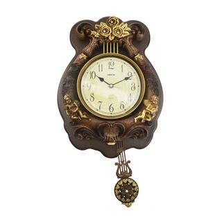 Antique Designed Angel Wall Clock with Swinging Pendulum