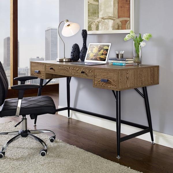 Shop Walnut Finish Contemporary Surplus Desk Free