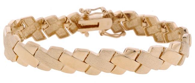 Mondevio Seven-inch 18-karat Yellow-gold over Sterling Silver X-link Bracelet