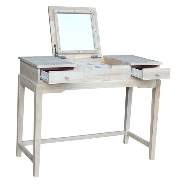 Unfinished Solid Parawood Vanity Table - N/A