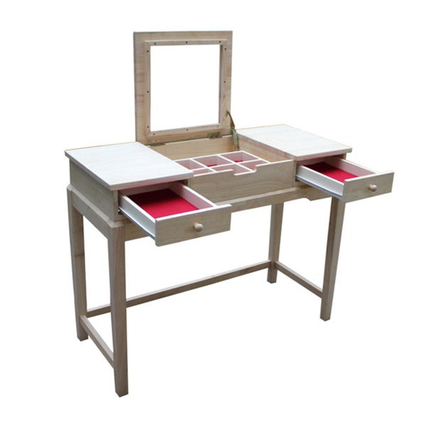 Unfinished Solid Parawood Vanity Table Free Shipping