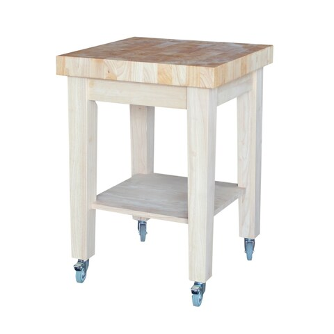 Clay Alder Home Humpback Unfinished Solid Parawood Kitchen Island Cart