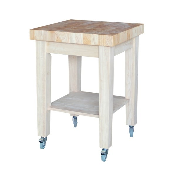 Kitchen Cart Unfinished: Unfinished Solid Parawood Kitchen Island Cart