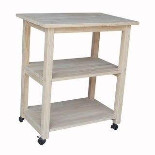 Porch & Den Estelle Unfinished Solid Parawood Microwave Kitchen Cart