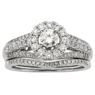Sofia 14k White Gold 1ct TDW Certified Round Diamond Bridal Set (H-I, I1-I2)