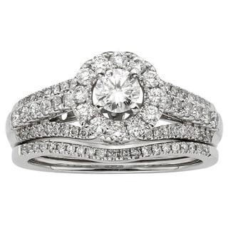 Sofia 14k White Gold 1ct TDW IGL Certified Round Diamond Bridal Set