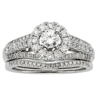 Sofia 14k White Gold 1ct TDW IGL Certified Round Diamond Bridal Set
