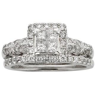 Sofia 14k White Gold 1ct TDW Certified Diamond Princess-cut Bridal Ring Set (H-I, I1-I2)