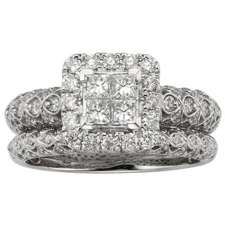 Sofia 14k White Gold 1ct TDW Certified Vintage-inspired Diamond Bridal Set (H-I, I1-I2)