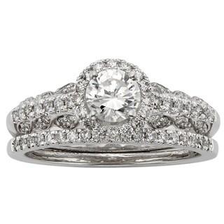 Sofia 14k White Gold 1ct TDW Certified Round-cut Diamond Bridal Ring Set (H-I, I1-I2)