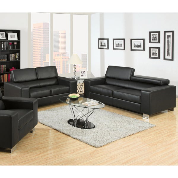 Furniture Of America Mazri 2 Piece Bonded Leather Sofa And Loveseat Set