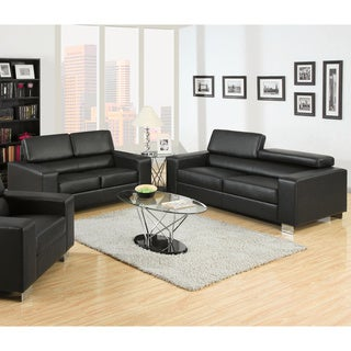 Furniture of America Mazri 2-Piece Bonded Leather Sofa and Loveseat Set