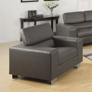 Furniture of America Fash Modern Faux Leather Headrest Club Chair