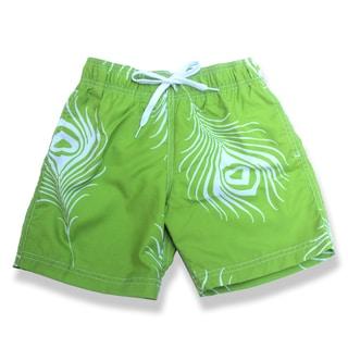 Boys Green Feather Print Swim Shorts