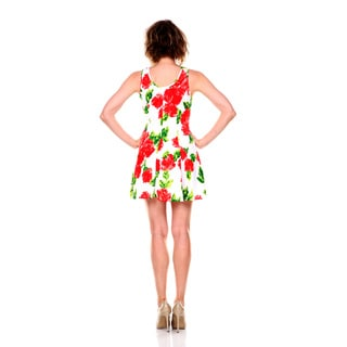 White Mark Women's Floral Fabric Fit-and-Flare Dress