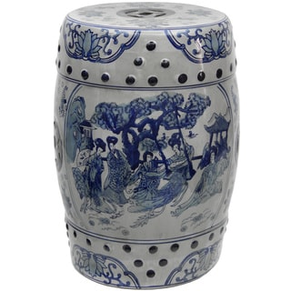 Handmade 18-inch Ladies Blue and White Porcelain Stool (China)