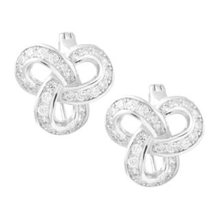 La Preciosa Sterling Silver Cubic Zirconia Knot Earrings