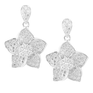La Preciosa Sterling Silver Micro Pave Cubic Zirconia Flower Dangle Earrings
