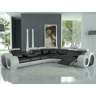 franco black and white bonded leather sectional sofa. Black Bedroom Furniture Sets. Home Design Ideas