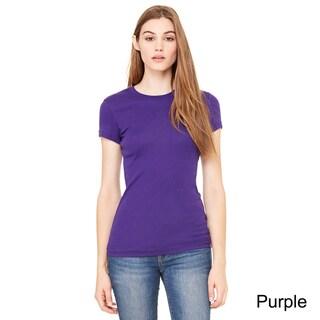 Bella Women's Sheer Mini Rib Short Sleeve T-shirt