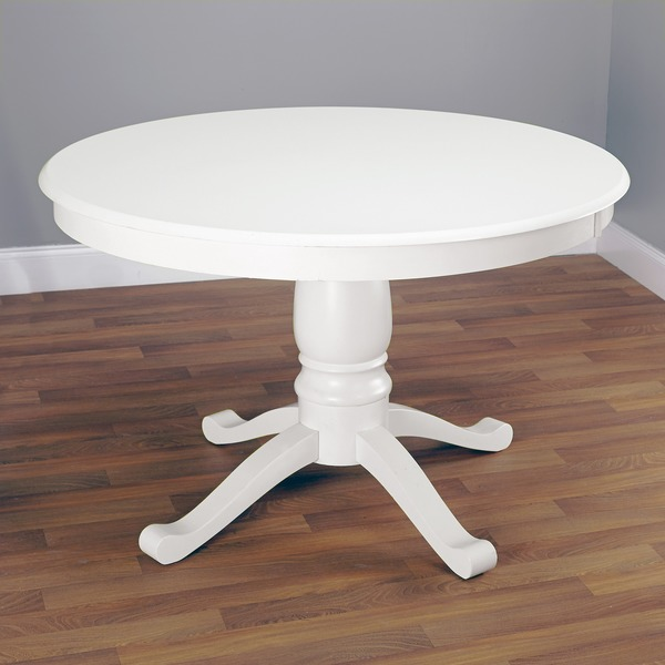 Simple living alexa round antique white pedestal dining for White round dining table