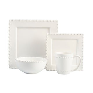 Bianca Bead White Square 16-piece Dinnerware Set