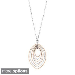 La Preciosa Sterling Silver Two-tone Diamond-cut Necklace