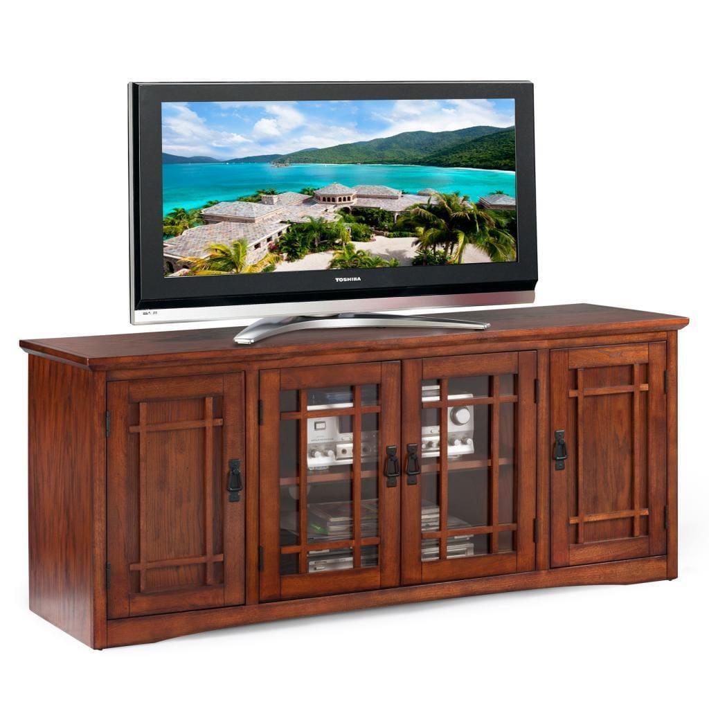 KD Furnishings Mission Oak Hardwood 60-inch TV Stand, Brown